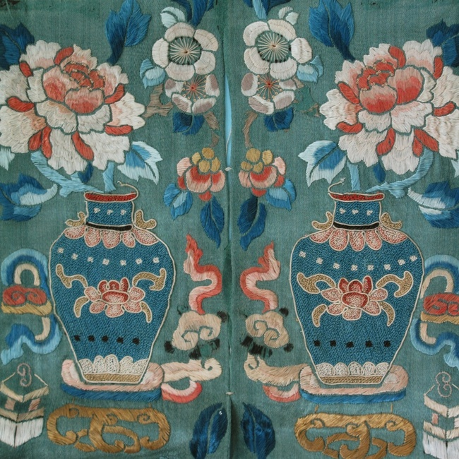 1900's Peking knot Chinese silk embroidery