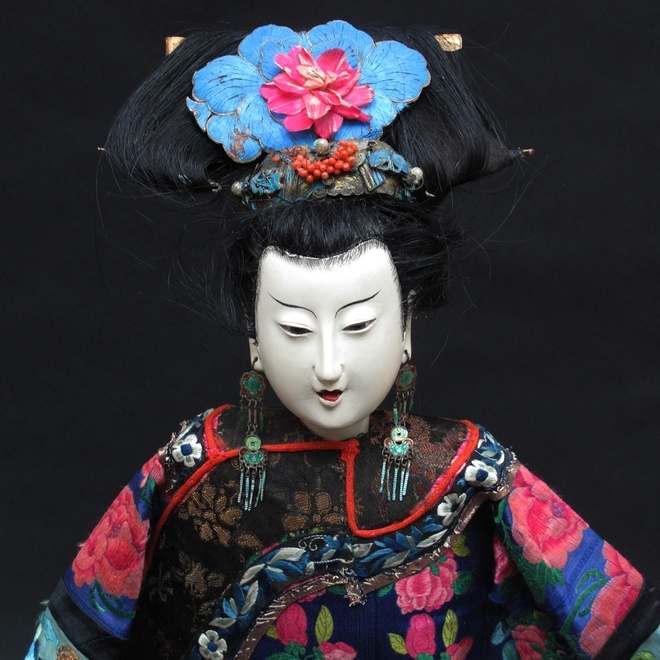 19th century Chinese figure with original embroidered Peking knot clothing, jewellery and butterfly wing headdress  Price on application